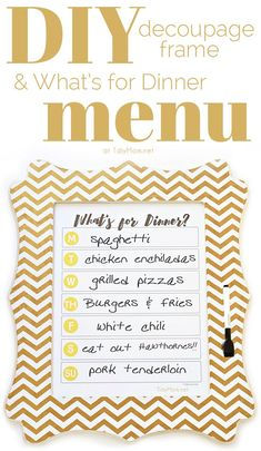 DIY Dry Erase Menu Board with free What's for Dinner Menu printable. Simply write your dinner plan on the glass each week using a dry erase marker. Download the free printable!