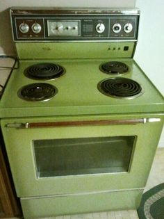 Avocado Stove/ my mom had one but hers was gas, we had the matching  Refrigerator too.