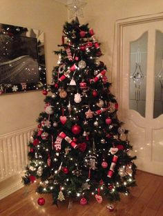My Red , white & silver Christmas tree #christmas #tree #christmastree #red #white #silver