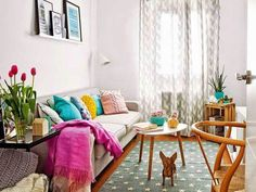 Bright colourful home in Madrid with Eames, Hans Wegner, pastel Scandinavian Style, Home Living Room, Living Room Decor, Nordic Interior Design, Home Themes, Happy House, Spring Home, Home Staging, Home Accessories