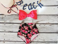 54236413c4 Bow Bandeau Bikini High Waisted pink black floral roses & Red Polka Dot  Spot Cute Sexy Swimwear Retro Pin up Swimming floral Bathing suit