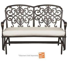 Hampton Bay Edington Cast Back Double Glider with Cushion Insert (Slipcovers Sold Separately)-131-012-GLDR-NF - The Home Depot