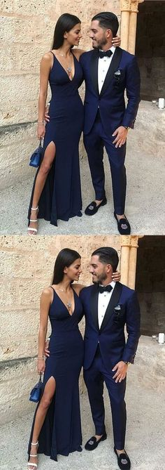 Sexy V neck Prom Dress, Mermaid Long Evening Dress, Split Side Navy Blue Party Dress 51649 #RosyProm #fashionpromdress #charmingpromgown #longpartydress #simpleeveningdress #navybluepromdress #Vneckpromgown