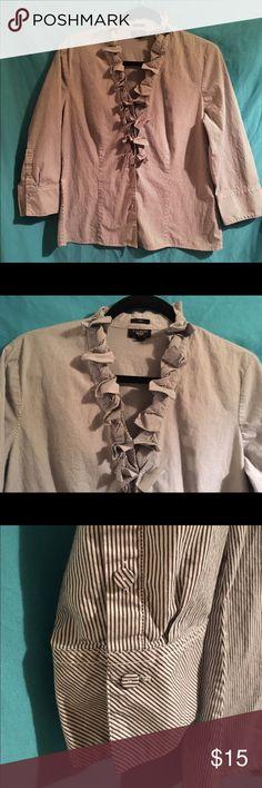 Ruffle Trim Button Down Pretty button down shirt. The stripes are dark grey and white. Talbots Tops Button Down Shirts