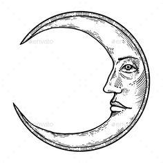 Future Tattoos, Tattoos For Guys, Gravure Illustration, Face Illustration, Petit Tattoo, Moon Face, Moon With Face, Tattoo Bein, Engraving Illustration