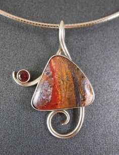 "Pendant: Indian blanket jasper and faceted garnet set in sterling silver. 2"" x 1.37"" - Johnsonmetalarts"