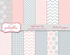 pink digital scrapbook paper pack baby girl commercial use - pink grey flowers chevron polka dots gingham paper - INSTANT DOWNLOAD. $3.75, via Etsy.