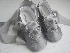 Crystal Ballet Shoes, Baby Ballet Shoes, Toddler Ballet Flats, Silver Platinum Silk, Swarovski Crystals, Helena, Bobka Shoes by BobkaBaby