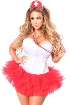 cb2cb2afa6e1d Plus size Flirty Nurse Corset Costume, $114.00 Corset Costumes, Adult  Costumes, Costumes For