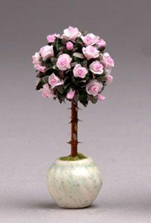 Rose bush topiaries.