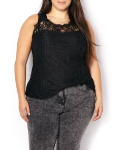 Sleeveless Lace Bustier Top | Penningtons | Sexy and feminine, this pretty plus-size top will wow them all. Features a bustier design with delicate lace overlay and stretchy ponte fabric at back for the perfect fit. Team it with black pants and a blazer for a party-ready look.