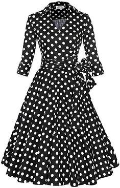 Shanxing Damen Rockabilly Kleid 1950er Retro Polka Dots Faltenrock  Petticoat Party Cocktailkleid  Amazon.de 19d7be3068