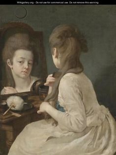 An Interior With A Young Lady At Her Toilet, Combing Her Hair Before A Mirror - Johann Anton de Peters(born 1725 died 1795. Note:  how the hair is put up in the front I assume the back is not yet put up.