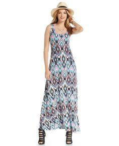 Karen Kane Ikat-Print Sleeveless Maxi Dress