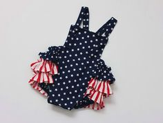Stars and Stripes Baby Romper  Newborn to 24months  by HereAStitch, $30.00