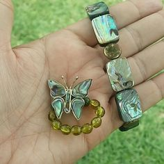 Genuine Abalone Shell Bracelet & Ring Set VTG Vintage gorgeous set of ring and bracelet,  necklace also available! Check next listing! Ring is a butterfly!   Both ring and bracelet are stretchy. Excellent conditions. Vintage Jewelry Bracelets