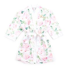 Our oh so soft and silky Floral Kimono Robe features an original water color print in a romantic palette.  Spoil yourself or all the special gals on your gift buying list.  Great bridesmaids gift too.