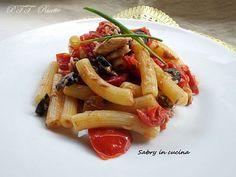 Pasta con sugo fresco, sgombro ed olive - PTT Ricette Olive, Pasta Salad, Chicken, Meat, Ethnic Recipes, Food, Crab Pasta Salad, Essen, Meals
