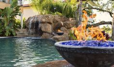 Fire Bowls With Sheer Descents Swimming Pool Fire Features Pinterest Fire Bowls Swimming