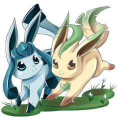 Leafeon and Glaceon by Kenneos on DeviantArt