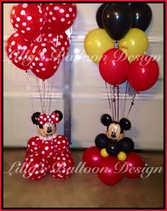 Minnie & Mickey balloon bouquets and centerpieces Mickey Mouse Clubhouse Birthday Party, 2nd Birthday Party Themes, Birthday Party Centerpieces, Balloon Decorations Party, Mickey Mouse Birthday, Mickey Mouse Crafts, Fiesta Mickey Mouse, Mickey Mouse Baby Shower, Mickey Mouse Parties