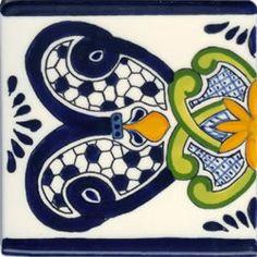 Talavera Design Blue Border: Hand-Painted Ceramic Tile