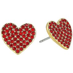 Kate Spade New York Yours Truly Pave Heart Stud Earrings (Red) Earring ($48) ❤ liked on Polyvore featuring jewelry, earrings, heart jewellery, red jewellery, sparkly stud earrings, pave heart earrings and red jewelry