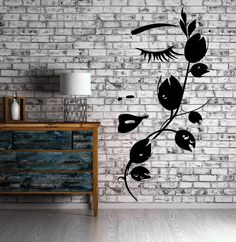 Beautiful Girl Face with Flower Wall Decor Mural Vinyl Decal Art Sticker (m589)