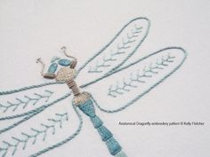 Anatomical Dragonfly modern hand embroidery by KFNeedleworkDesign