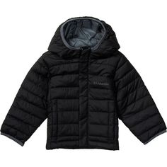 Columbia Toddler Boy's Powder Lite Puffer Outerwear, black, 3T. Water resistant fabric. Faux down insulation. Attached, adjustable storm hood. Imported.