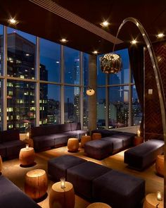 Jimmy at The James New York City rooftop bar and lounge in Manhattan at The James Hotel Soho, overlooking the Manhattan Restaurant Club, Rooftop Restaurant, Restaurant Design, Luxury Restaurant, Restaurant Lighting, Bar Lounge, Rooftop Lounge, Lounge Design, Hotel Lounge