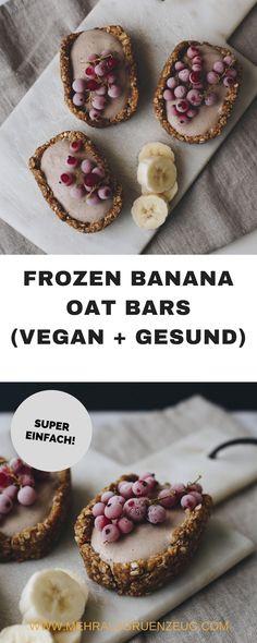 Frozen Banana Oat Bar - oder auch: gefrorene Hafer-Schnitten mit Bananen-Topping. Genau das Richtige im Hochsommer - fast wie Eis, bloß vegan und gesund.