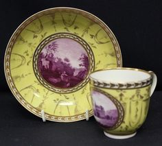 The Grace Maud Coke Lomas Collection of Pinxton Porcelain -  Highlights of the collection include a rare Pinxton yellow ground coffee cup and saucer, circa 1799, the yellow ground with named puce monochrome landscapes with classical urns and swags, marked Cromford, Derbyshire P113. This cup and saucer is estimated to reach in the region of £1,000 to £1,500