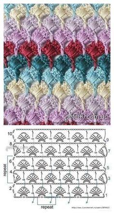 Crochet motif with chart. Crochet Gloves Pattern, Crochet Diagram, Crochet Stitches Patterns, Crochet Chart, Crochet Motif, Knitting Stitches, Crochet Designs, Free Crochet, Stitch Patterns