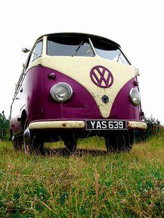 A 1960s Volkswagen Type 2 'rat look' split screen camper van at rest in Maxey, Lincolnshire, United Kingdom. Taken on August 18, 2007.