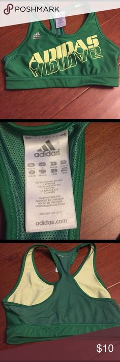 Adidas sports bra This is a super cute adidas green sports bra with lime green writing on the front and a mesh climacool back. Gently worn with a few flaws in the seams as pictured! Not visible when worn! Adidas Intimates & Sleepwear Bras