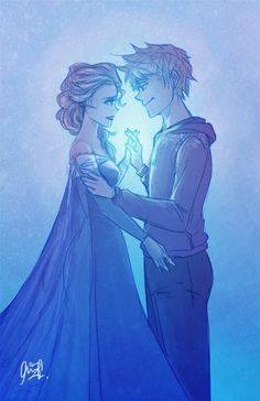 Elsa and jack Frost- i totally said this should happen so i searched it :)))))