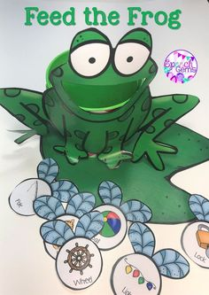 Practice articulation skills as you feed the frog flies in speech therapy.