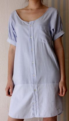 Recycled mans' shirt Blue dress by machemisedhomme on Etsy