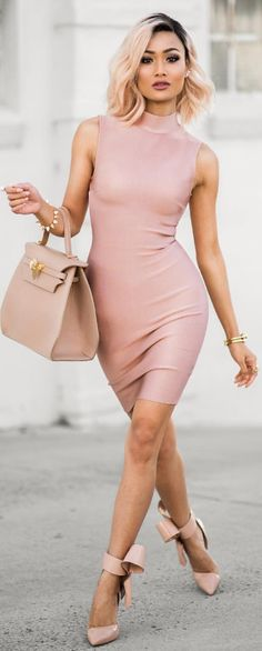 Blush x nude /  Dress from @mybandagedress - use code MICAH for 10% off  / Fashion By Micah Gianneli