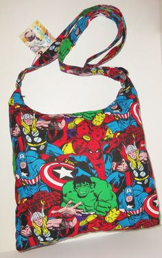 Marvel Avengers Super Heroes Inspired Handmade Hobo Style Shoulder Bag Purse by CosplayMommas on Etsy