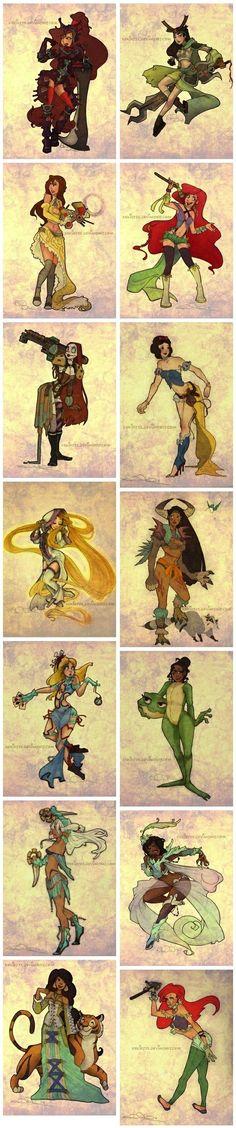 Steampunk Disney Princesses? Yes, please.
