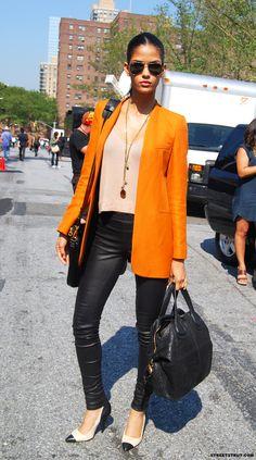 Orange Blazer + Leather Pants
