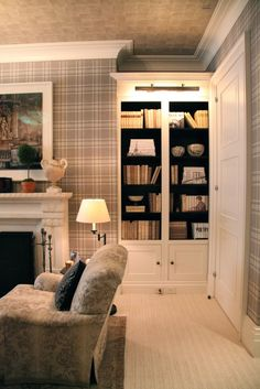 David Phoenix designed for the 2015 Kips Bay Decorator Show House. Living Room Remodel, Living Room Decor, Living Spaces, Plaid Living Room, Tartan Wallpaper, Stylish Bedroom, Chula, Decoration, Traditional Decor