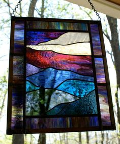 Stained Glass Panel: Mountain Sunset Landscape