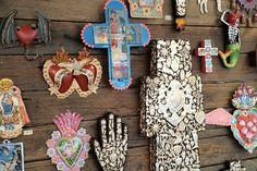 mixed media crosses, milagros, corazons
