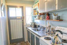 Original New Zealand Railway cottage kitchen. Beach Shack, Kiwi, Cottages, Kitchen Cabinets, The Originals, House, Home Decor, Beach Shade Canopy, Cabins