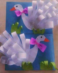 Swan craft for kids. - Bird Crafts for Kids Kids Crafts, Summer Crafts, Easter Crafts, Projects For Kids, Diy For Kids, Diy And Crafts, Art N Craft, 3d Craft, Paper Craft