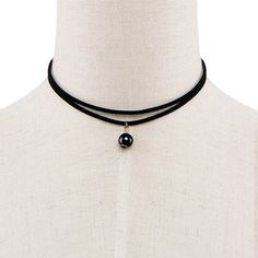 Black Artificial Pearl Pendant Choker Necklace