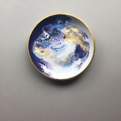 Cosmic Love! A Purple Moon trinket dish, hand painted in acrylic and made in polymer clay. A one-of-a-kind art that functions both as a jewelry dish and display. Perfect for the celestial moon lover! ($30) #trinketdish #jewelrydish #ringdish